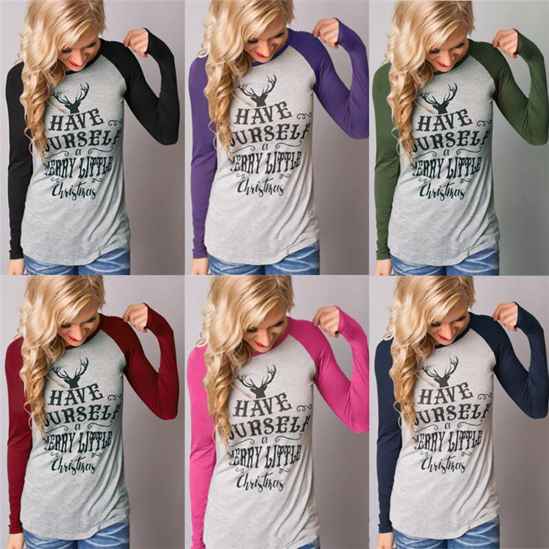 d999a964a06 Christmas Women Long Sleeve T Shirts Elk Xmas Deer T-Shirt Letter ...