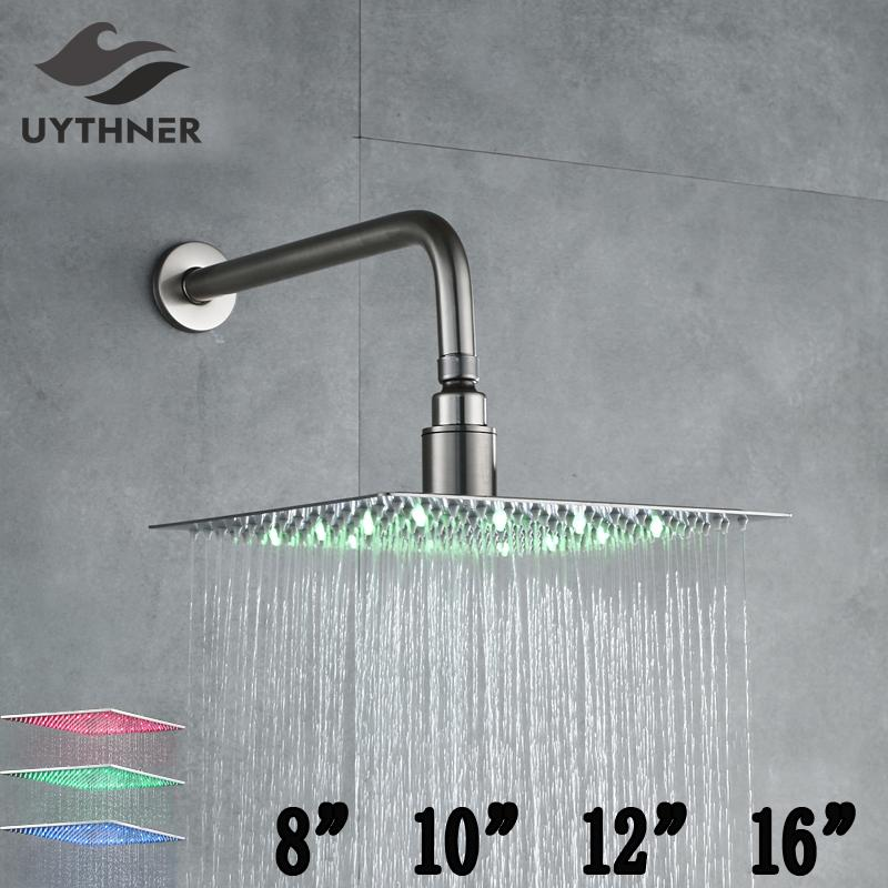 2018 Led Color Changing Nickel Brushed 8 10 12 16 Shower Head