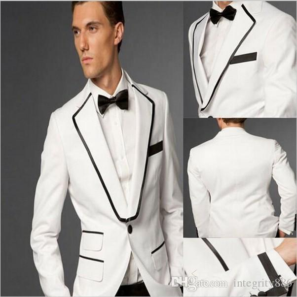 Slim Fit White Groom Tuxedos Groomsmen Beautiful Notched Lapel One Button Men Formal Suits Business Wear Prom SuitJacket+Pants+BowTieNO;39