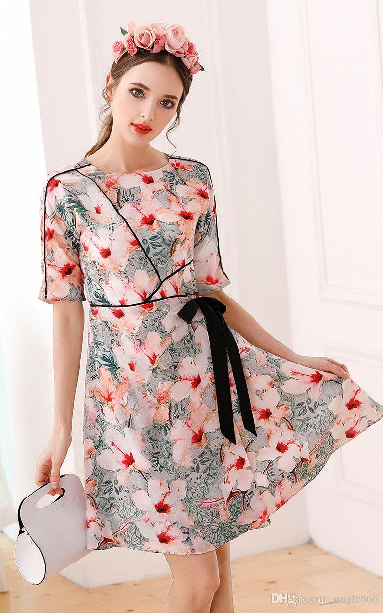 2018 summer fashion romantic floral printed grace Real silk woman's dresses brief bow empire dress S-XL