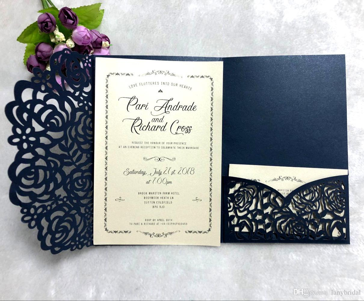 White Navy Blue Laser Cut Invitations Cards With RSVP Pearl Paper Invite Card Stock For Birthday Party Supply Invitation Templates Wedding