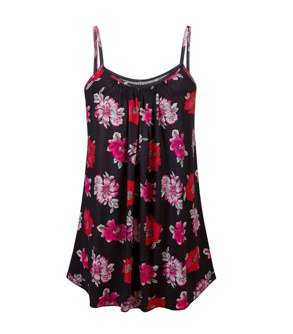 acf08a9ac52 2019 Floral Camis Women Summer Top 2018 Plus Size Ruffles Loose Women T  Shirt Tank Top Casual Outfits Homewear Clothes From Veilolive