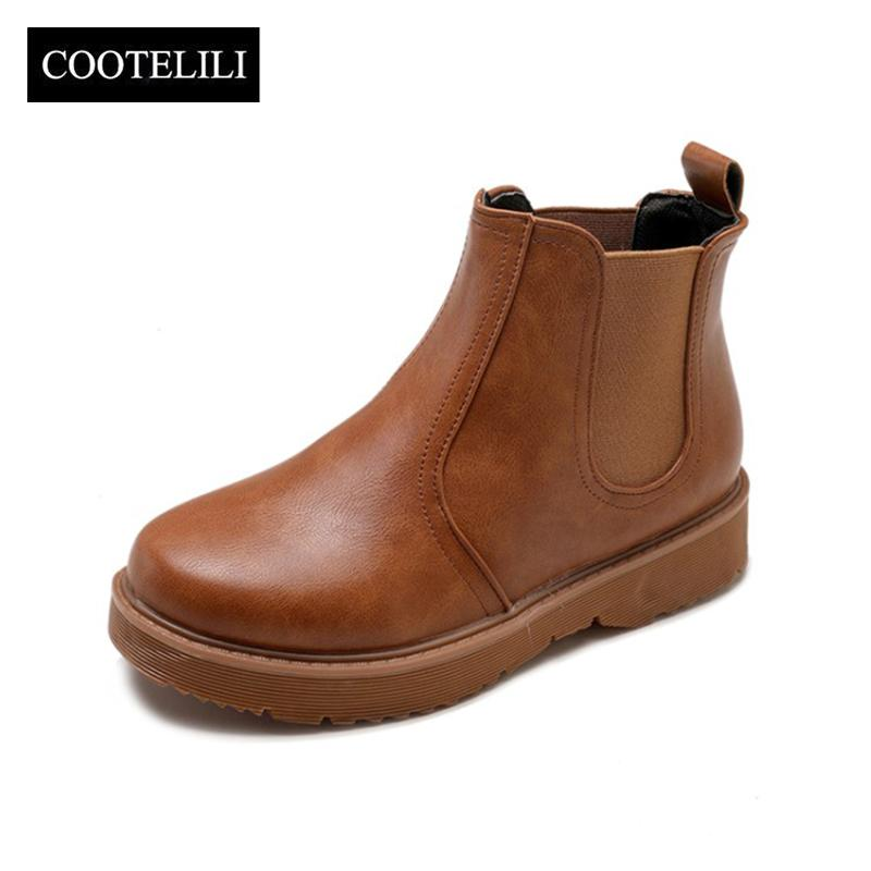 Wholesale Pu Leather Ankle Boots For Women Black Brown Plus Size