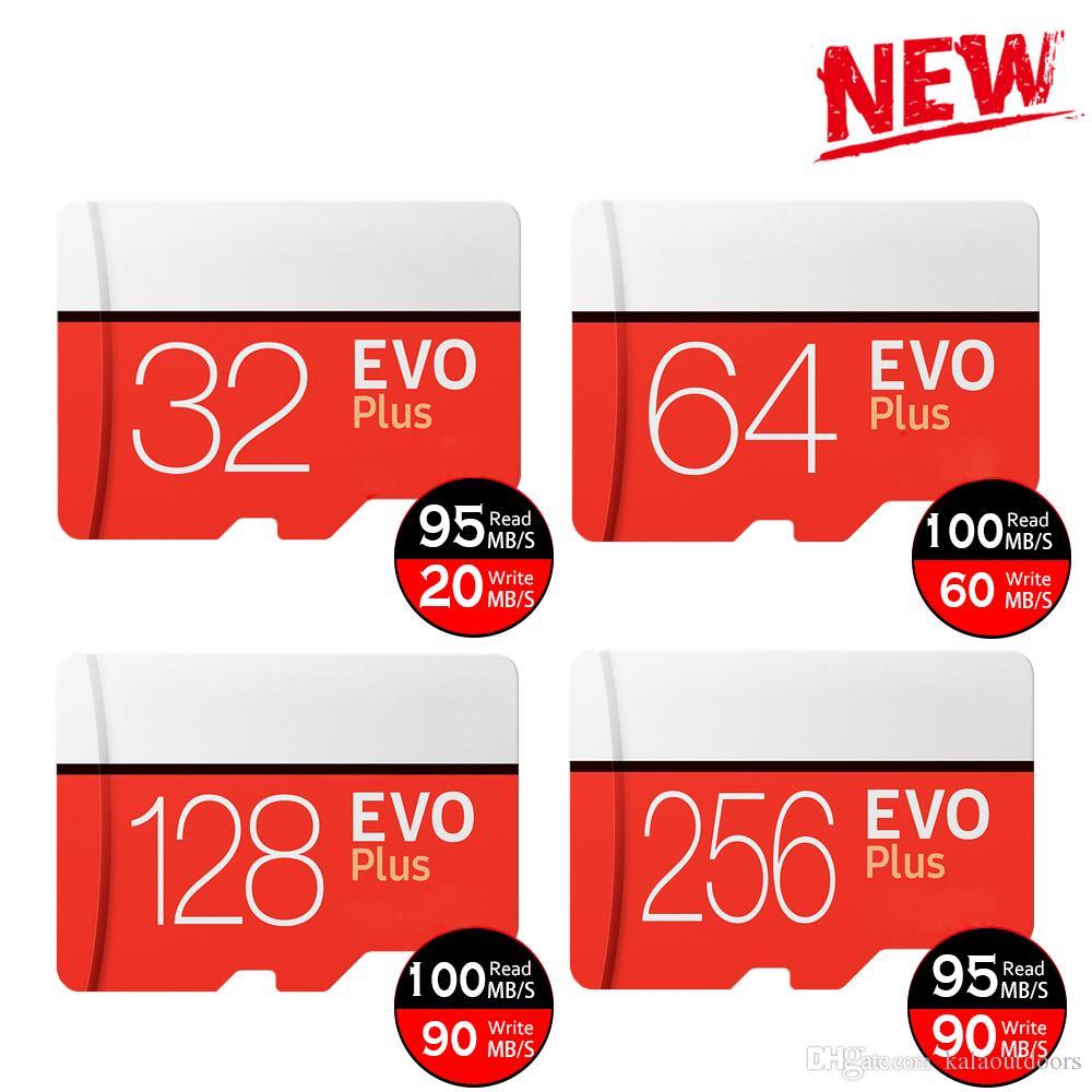 Siyah EVO Artı + 64 GB 128 GB 256 GB TF Flaş Hafıza Kartı Sınıf 10 Ücretsiz SD Adaptörü Perakende Blister Paket Epacket DHL Ücretsiz Kargo