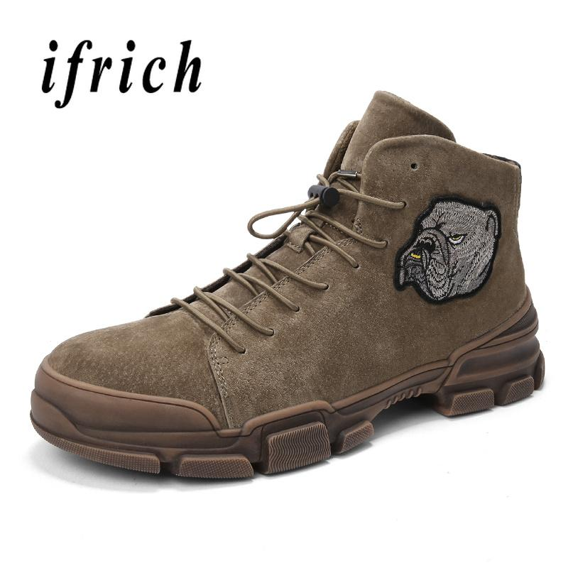 5c0db732813 Cool Martin Boots for Men Pig Suede Leather Work Boots Male Rubber Bottom  Young Casual Men Shoes Khaki Black Outdoor Brand