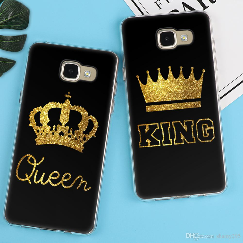 King Queen Case For Samsung Galaxy S5 S6 S7 Edge S8 Plus A3 A5 J1 J2 J3 J5 J7 2018 high quality Back cover Note 8 Luxury