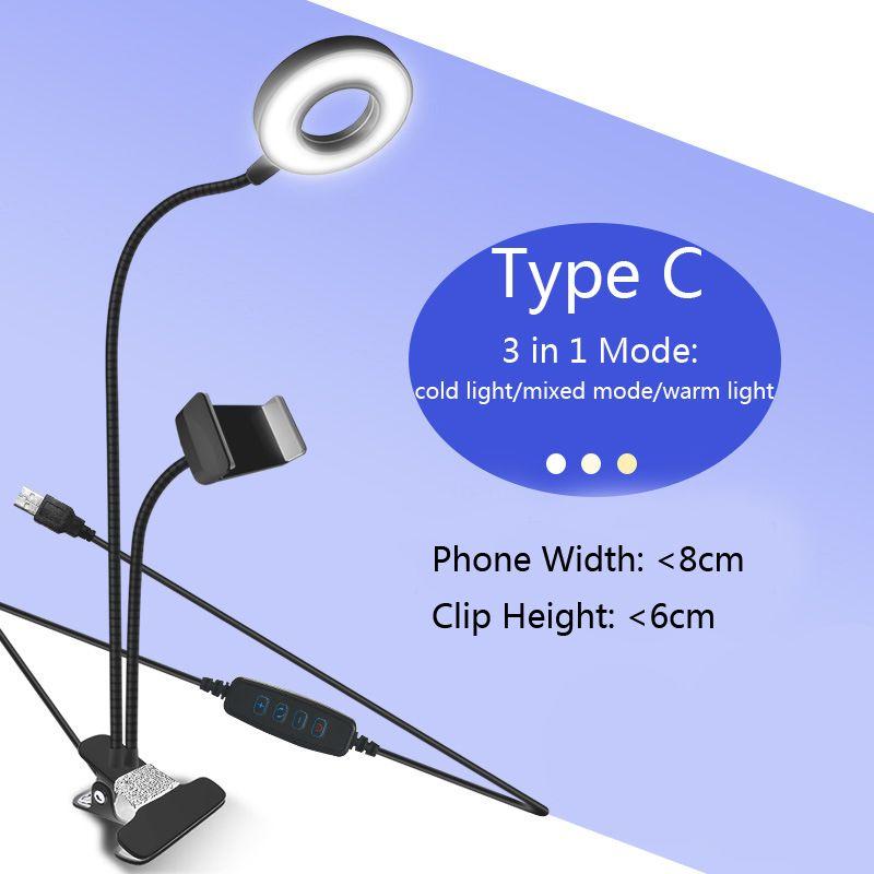 New Arrival USB Power LED Selfie Ring Light With Mobile Phone Clip Holder Lazy Bracket Desk For Iphone Samsung