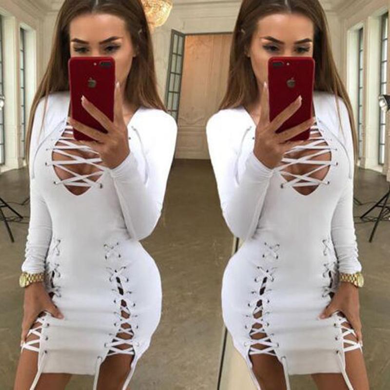 a9e1bb449719e Bandage Dress 2019 New Women Long Sleeve Lace Up Summer Sexy Dress Deep V  Mini Fashion Club Lady Dress Femme Vestidos Grey Party Dress Blue Lace Maxi  Dress ...