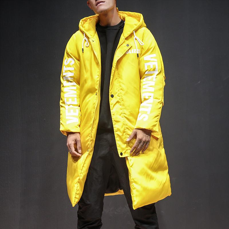 772a66037518 Men Winter Thick Blue Black Yellow Hooded Parka Jacket Male Women Street  Hip Hop Fashion Casual Loose Cotton Coat Mens Overcoat