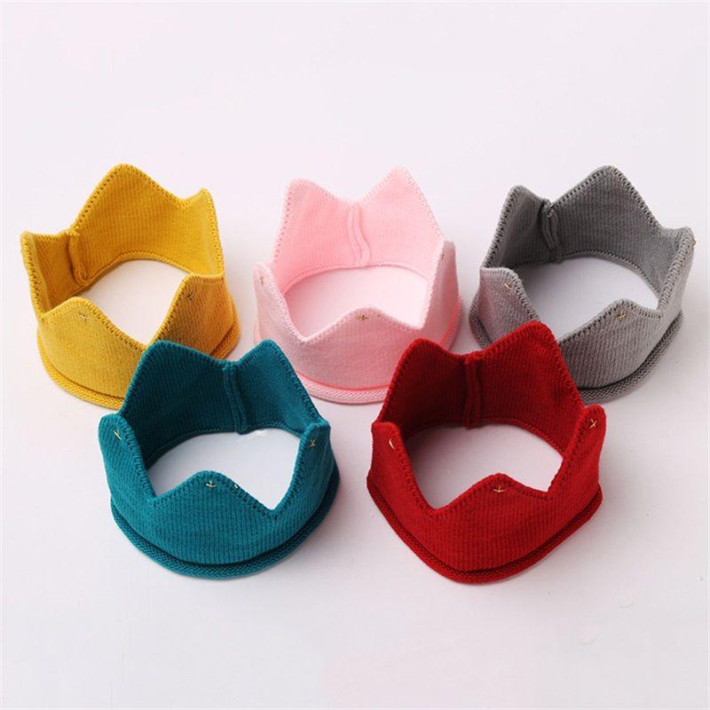 Cute Boys Girls Hat New Autumn Winter Crown Shape Knit Caps Multi Color 5 8hs C R