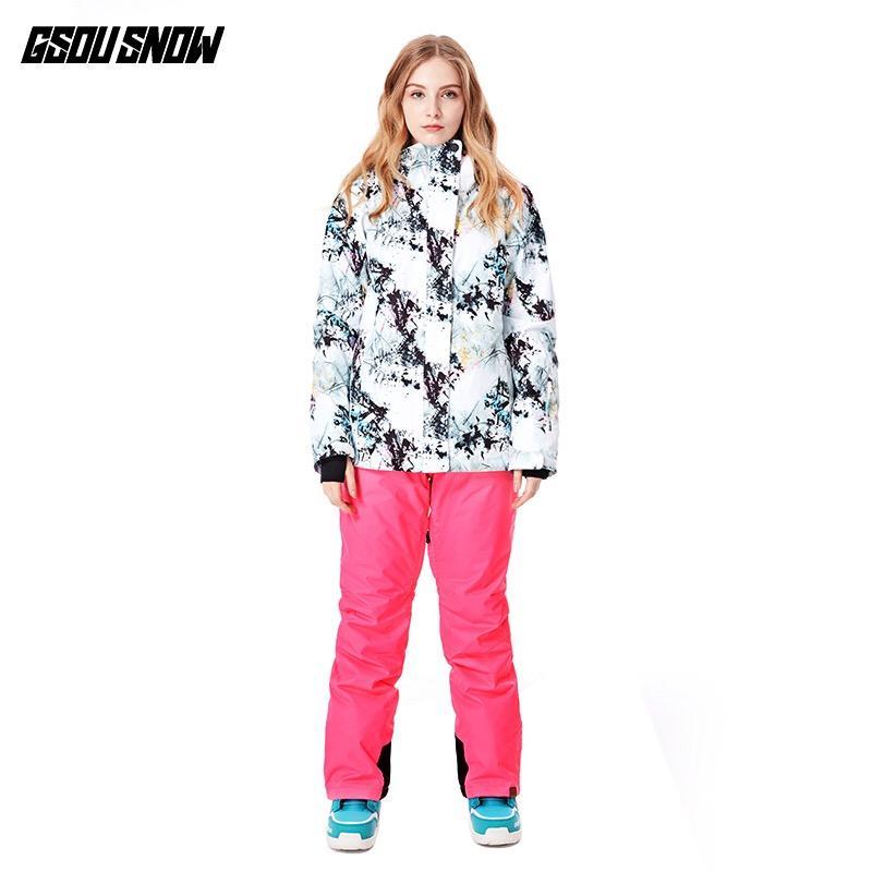 8bf2c43713 GSOU SNOW New Ski Jacket Women Anti-pilling Snowboard Coats Waterproof  Fashion Windproof Female Ski Jackets Breathable Cotton Skiing Jackets Cheap  Skiing ...