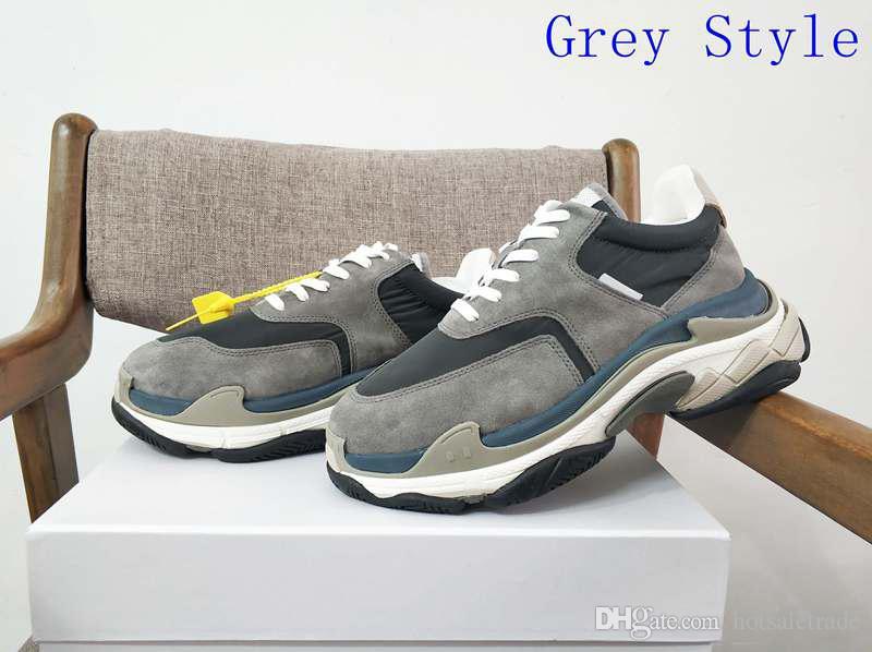 443b3bde3dc Acheter Triple S Fashion Paris Chaussure Casual Triple S Sneaker Couleurs  Gris Top Qualité Luxe Dad Chaussures Hommes Et Femmes Chaussures En Gros De  ...