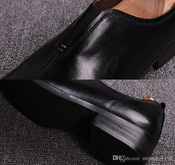 2019 Handmade retro brand Designer Wedding fashion Party dance male dress Genuine Leather Mens Oxford Shoes size:39-44