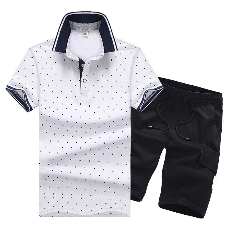 a14a306c3 Men Tracksuit Dot Printed Male Large Yard Running Suit Summer Casual ...