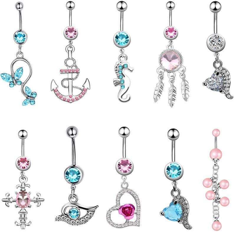 New Fashion Stainless Steel Sexy Piercing Navel Nail Body Jewelry Crystal  Pendant Crystal Belly Button Rings Body Jewelry Body Jewelry Cheap Body  Jewelry ... d3ac414c2181