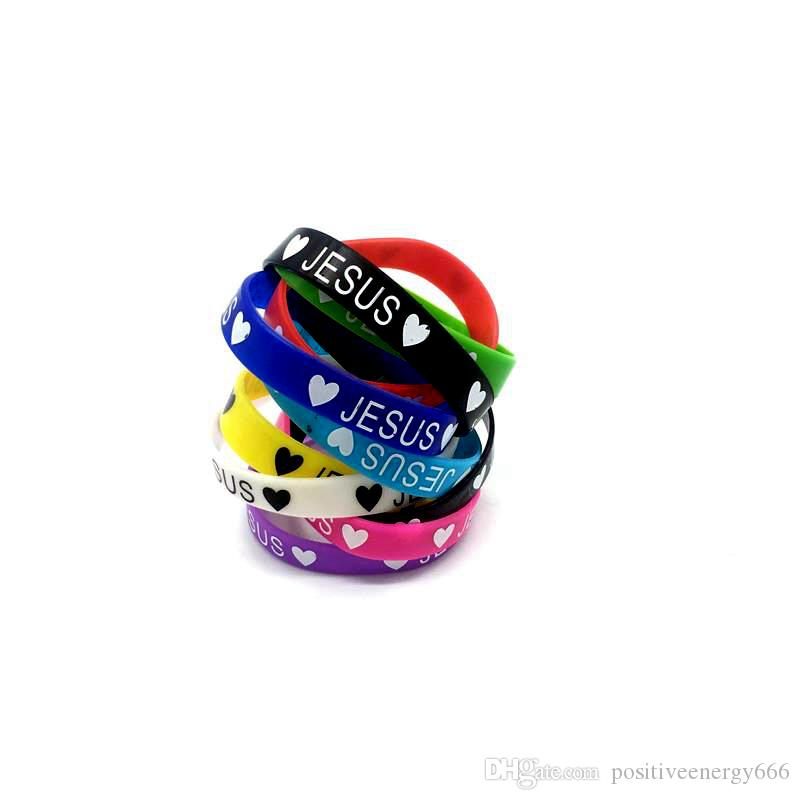 Neue Silikon Armband Elastische Gummi Armbänder Männer Frauen Schmuck Mode Accessoires Mix Farben Nach dem Zufall Herzförmige Liebe Jesus Geschenke