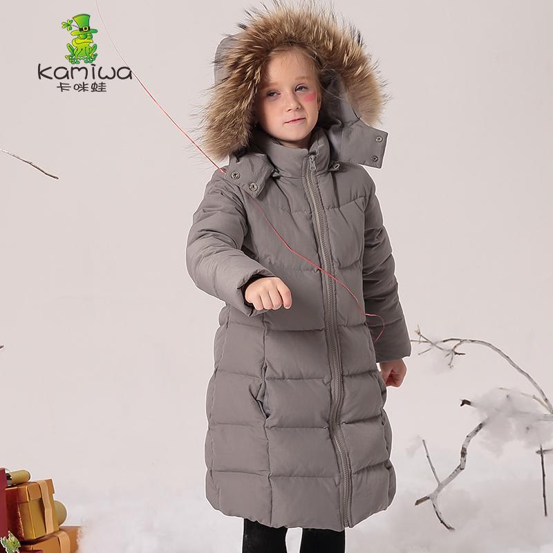 Kamiwa 2017 Długie dziewczyny Płaszcze zimowe i kurtki Znosić ciepłe Kurtka Down Dzieci Dziewczyny Ubrania Dla Dzieci Parkas Dziewczynek Odzież