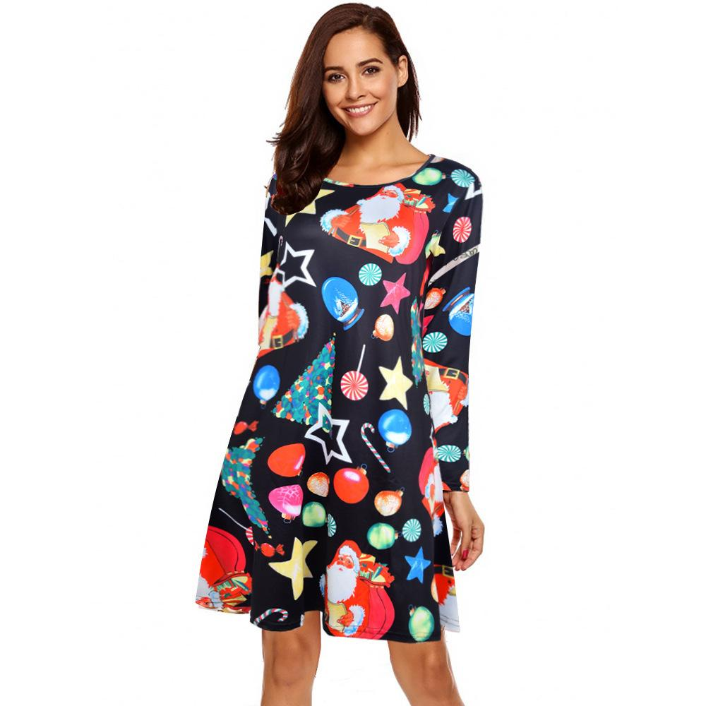 4fdab76a67aa2 2018 vitiana women plus size 3xl short christmas party dress female 2018  autumn long sleeve snowman