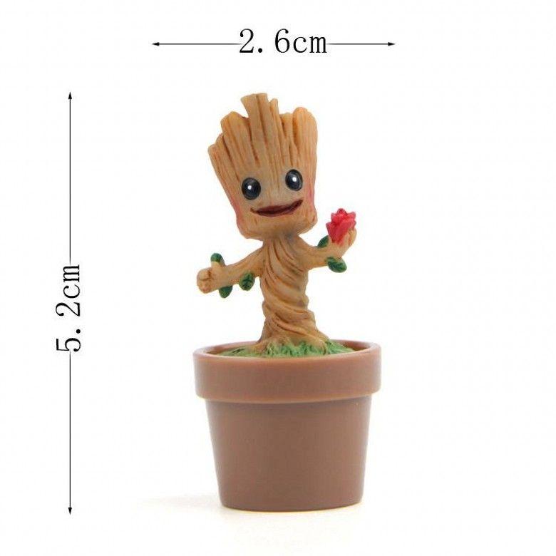 Nouveau 4 Designs Arbre Homme Anime Figure Sculpté Bois Sprites Figurines Collection Jouets PVC Gardiens Galaxie Cadeau Jardin Décoration de La Maison