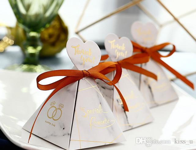 Wedding Gifts for Guests Triangle Cardboard Candy Package Party Box for Kids Birthday Decorations Favors