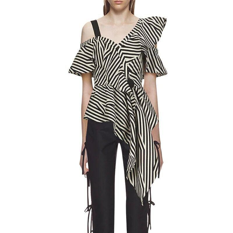 46046e26f38b 2019 New Self Portrait Blouse Striped Women Sexy Ruffles One Shoulder Off  2018 Summer Female Shirts Petal Sleeve Designer Button Top From Watch2013,  ...