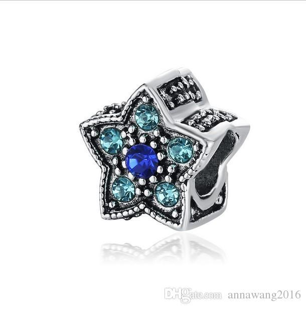 Serve para pulseira de prata esterlina estrela de cinco pontas de cristal encantos para diy estilo europeu cadeia de cobra moda diy jóias atacado