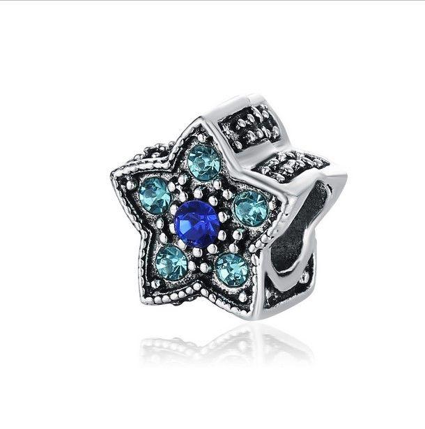 Si adatta braccialetto in argento sterling stella a cinque punte perline di cristallo di fascini fai da te stile europeo catena del serpente moda gioielli fai da te all'ingrosso