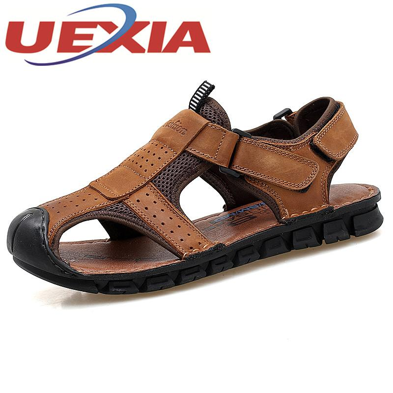 e6ab37a09 Outdoor Sport Sandals Men Summer Breathable Water Shoes Male Casual Beach  Sandalias For Men Shoes Flip Flops Sandalias Hombre Leather Sandals Wedding  ...