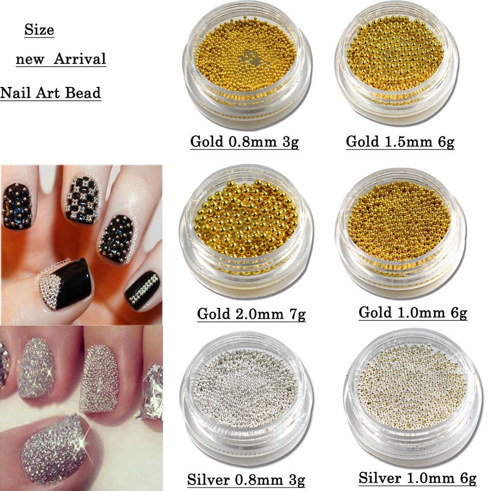 1 Box Gold Silver Diy 3d Nail Art Steel Beads Caviar For Nail ...