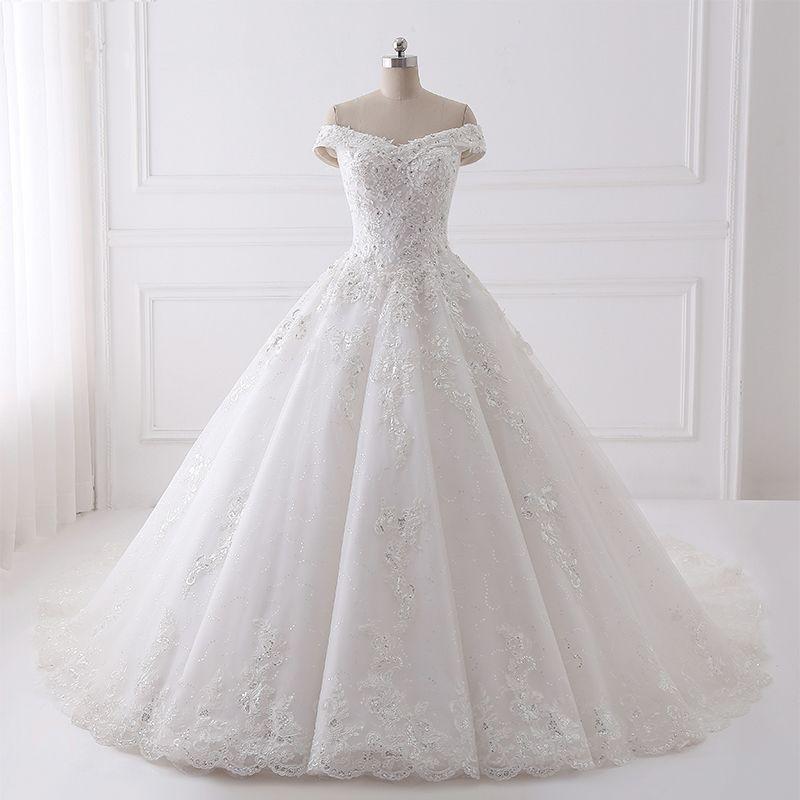 save off ad7c8 f4ae5 Luxus-Bördeln Hochzeitskleider Real Photo Appliques Spitze Brautkleid  Ballkleid Lange Brautkleid Elegante Kathedrale Zug Brautkleider