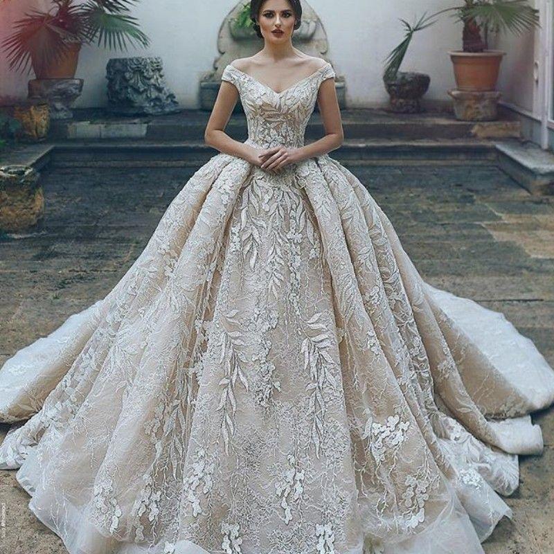 Saudi Princess Lace Wedding Dresses Elegant Off Shoulder Applique ...