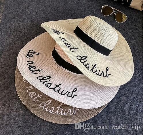 New Letter Embroidery Big Brim Sun Hats Straw Hats for Women Summer ... 4813a34b35d2