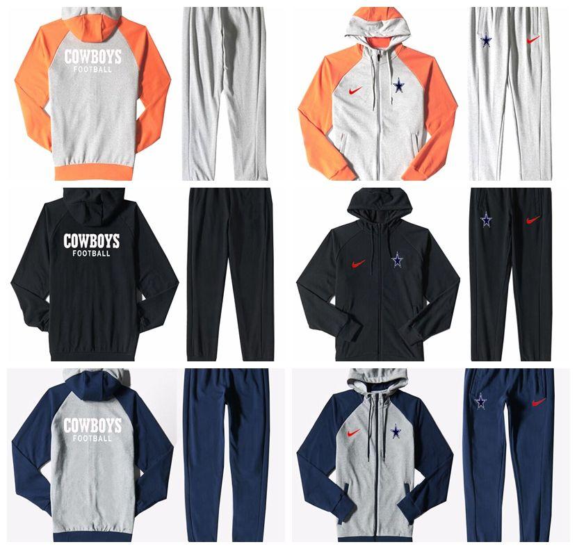 new product 9d9b9 6187f Dallas Cowboys Men S Print Full Zip Sports wear Men S Sport Suit Bodysuit  Plus Pantsuit Blue Ash Black Orange white splicing