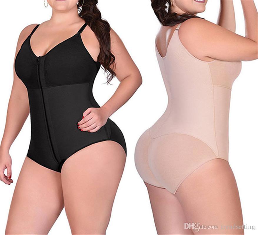 9659b7f2a25c9 2019 Women Firm Control Shapewear Fajas Bodysuit Thong Panty Body Shaper  Slimming Underwear Bodysuit Black With Bra From Trendsetting