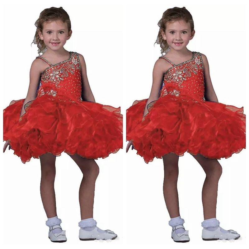 4df5efdff 2019 Spaghetti Kids Short Skirts Toddler Mini Girl s Pageant Dress ...