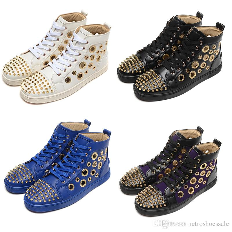 promo code 59b05 1dd6e 2017 Brand Designer Sneaker Shoes gold Spikes Red Bottom Mens Casual Shoes  Riser Vent High Top Sneakers White Black Blue Purple Size 39-46