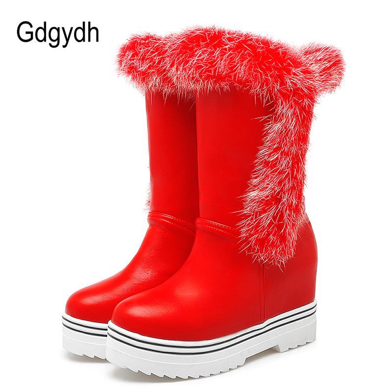 ce7b46468 Gdgydh Nova Chegada 100% Real Sapatos de Inverno De Pele Plataforma Mulher  Altura Crescente Botas de Neve Para As Mulheres Da Marca de Moda Plus Size