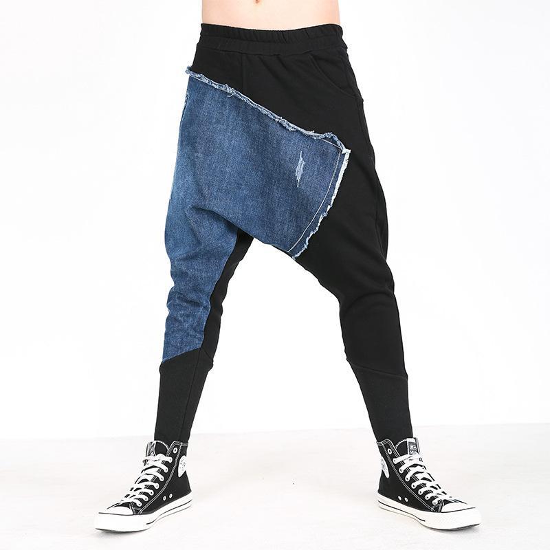 68613a80977b9 Compre 2018 Nuevos Hombres Casual Drapeado Caída Entrepierna Harem Hip Hop  Pantalones Pantalón Baggy Dancing Pantalones Estilo Gótico Punk Harem  Joggers ...