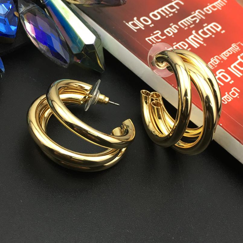 c775bee99c60 ... Stud Pendientes Manilai Diseño Único 3 Capas De Metal Tubo Geométrico  Punky Stud Pendientes Para Las Mujeres Joyería De Moda Pendiente Declaración  Bri .