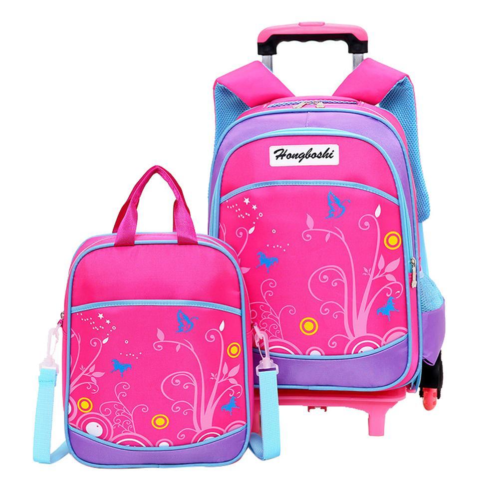 Children School Bags Backpacks 2/6 Wheels Removable Trolley School ...