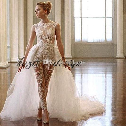 91c9edd1cd8 Discount Ines Di Santo Lace Jumpsuit Wedding Dresses With Detachable Train  2018 Sheer Cap Sleeve Illusion Bodice Overskirt Bridal Gowns Bridal Dresses  Cheap ...