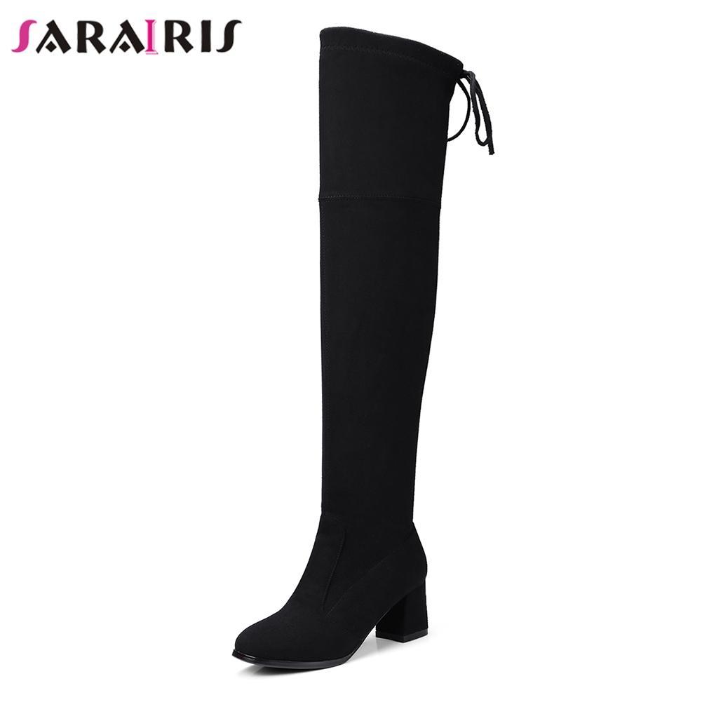 dedd2f41f Compre SARAIRIS Mulheres Marca Sobre O Joelho Botas Squre Sapatos De Salto  Alto Mulher Camurça Do Falso Calçados Lace Up Coxa Botas Altas Tamanho  Grande 34 ...