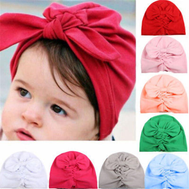 ff3d1f036ac75 Baby Hat Toddler Kids Winter Warm Cotton Soft Turban Knot Hat Rabbit Ears  Stretchable Cap Bohemian Beanie
