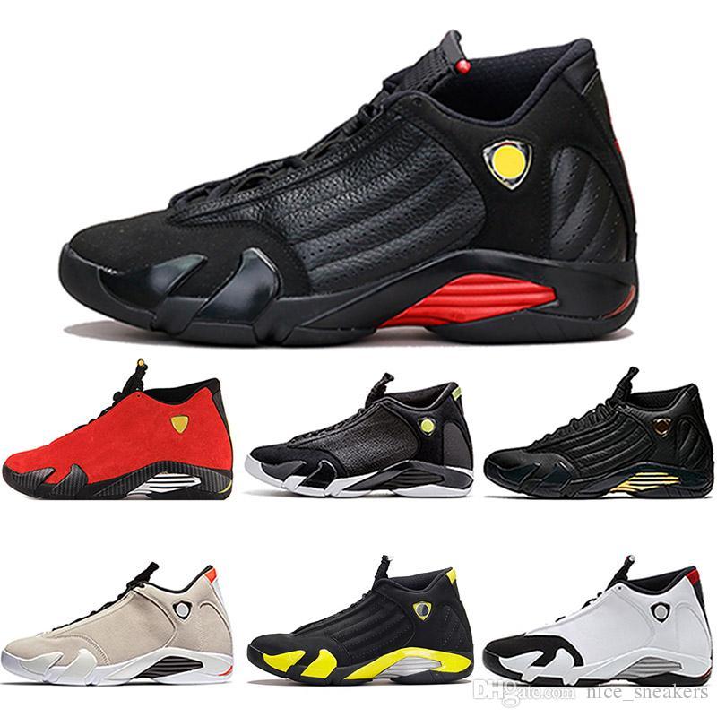 check out adfe6 314c1 Acheter 2018 Hommes Top Designer 14 Chaussures De Basket Ball Le Dernier  Tir Désert Sand DMP Indiglo Rouge Suede Thunder Mens 14 S Sport Sneakers US  8 13 De ...