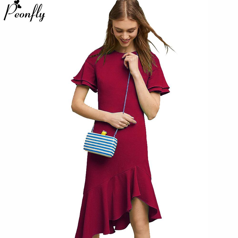cb1b68d0fa74 Wholesale Red Women Summer Dress 2018 Short Sleeve Ruffles Midi Length  Tunic Ladies Party Dress And Sundress Female Robe Femme Girls Dress Bridal  Dress From ...