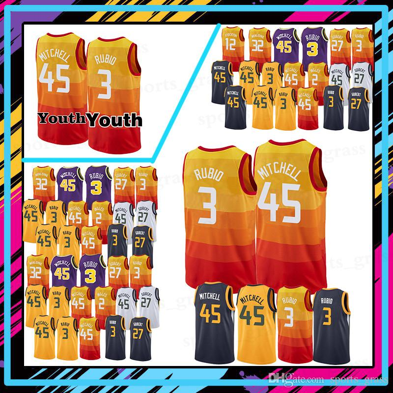 cc79fab4f 45 Donovan Mitchell jerseys 27 Rudy Gobert 3 Ricky Rubio 32 Karl ...
