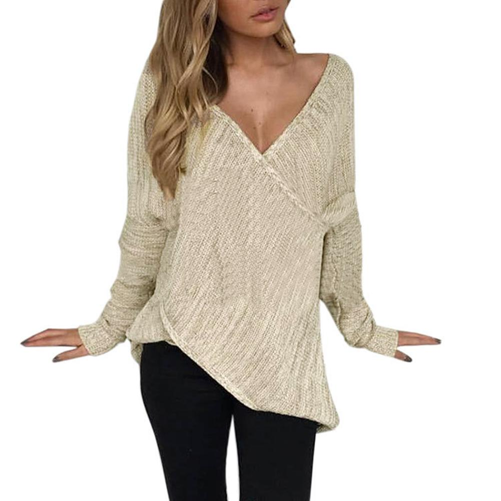 0a521658ff Sexy Women Knitted Sweater Cross Deep V Neck Long Sleeve Basic Jumper Top  Solid Loose Pullover Casual Solid Sweaters Knitwear UK 2019 From Modeng07
