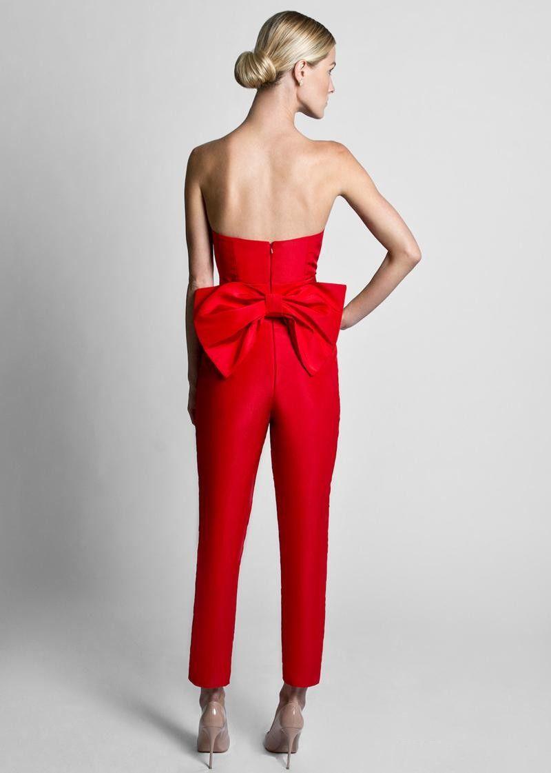 Krikor Jabotian Red Jumpsuits Vestidos de noche con falda desmontable Cariño Vestidos de baile Pantalones para mujer por encargo Big Bow Negro Blanco