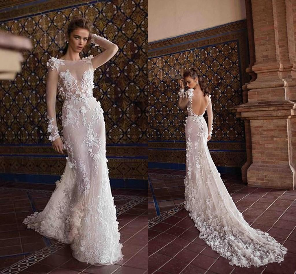 Berta 2018 New Ivory Wedding Dresses Lace 3D Flowers Sheer Long Sleeves  Sexy Backless Beach Wedding Bridal Gowns Court Train Strapless Mermaid  Wedding ... 14b87410b3e8