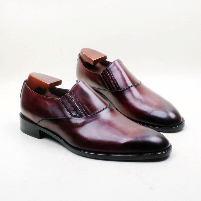 Männer Kleid Schuhe Loafers Schuh Custom Handmade Schuh Round Toe Slip on atmungsaktiv Farbe Burgund echtes Kalbsleder LF 06